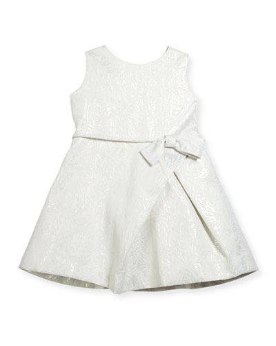 Inverted-Pleat Jacquard Dress, Size 2-6
