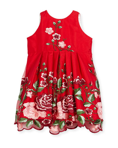 Flower Embroidery Tulle Dress, Size 7-14