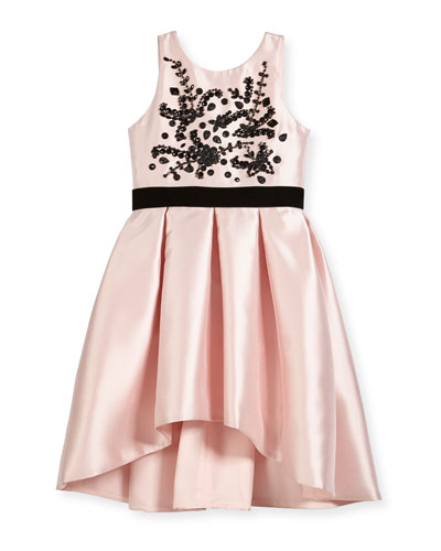 Beaded Bodice High-Low Bow-Pleat Dress, Size 7-16