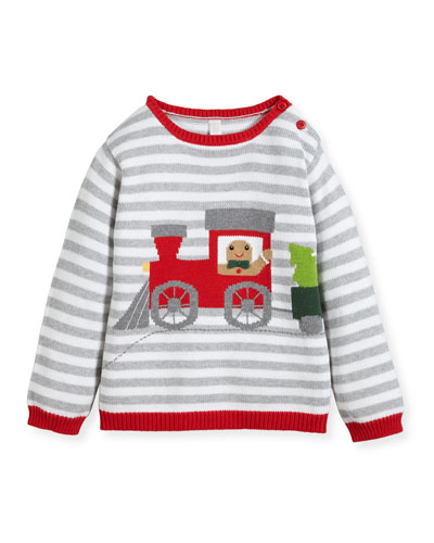 Boys' Gingerman Train Striped Knit Sweater, Sizes 2T-10