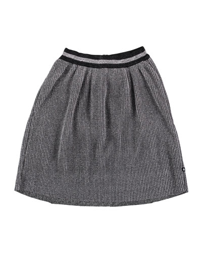 Birdie Metallic Pleated Skirt, Size 3T-14