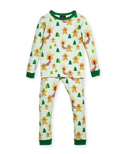 Gingerbread-Print Pajamas Set, Size 2-8