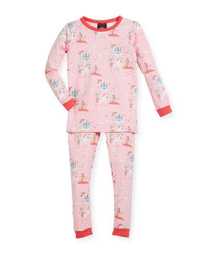 Unicorn-Princess-Print Pajama Set, Size 2-8