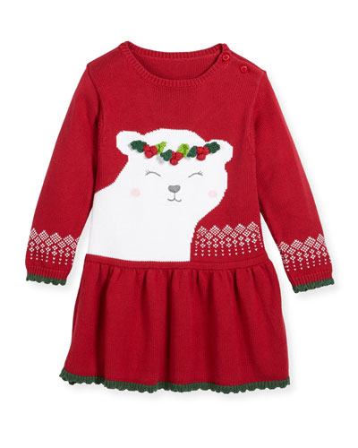 Polar Bear Knit Sweater Dress, Size 2T-7