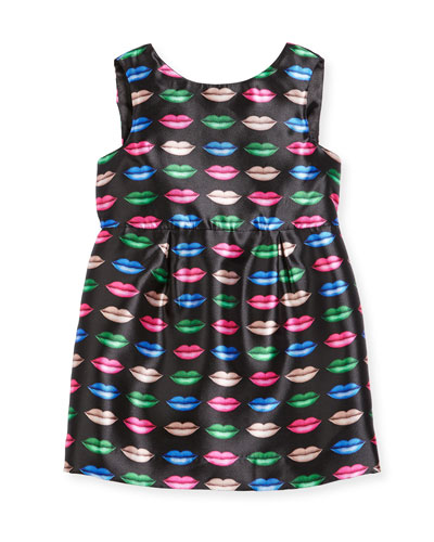 Kiss-Print Shift Dress, Size 4-7