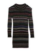 Metallic Striped Rib Dress, Size 8-14
