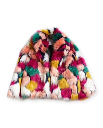 Faux-Fur Jacket, Multi, Size 4-7