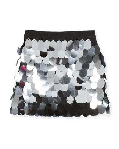 Paillette Sequin Mini Skirt, Size 4-7