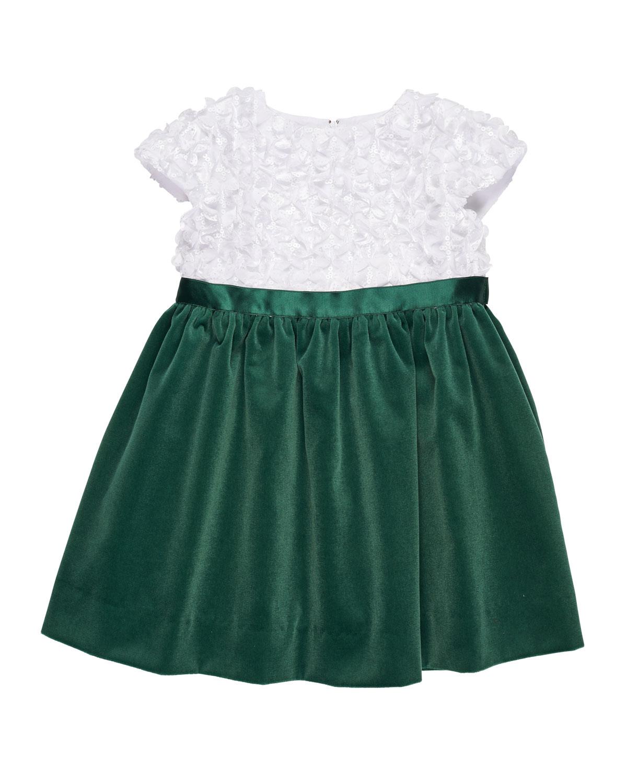 Flutter & Sequin Dress w/ Velvet Skirt, Size 7-10