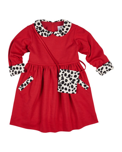 Long-Sleeve Ponte Dress w/ Cow-Print Trim & Crossbody, Size 2-6X