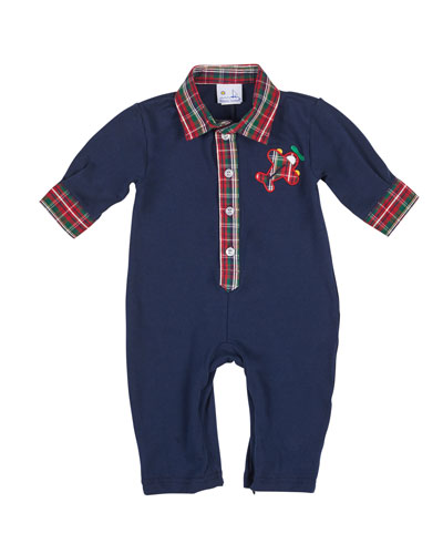 Knit Airplane Coverall w/ Plaid Trim, Size 3-18 Months