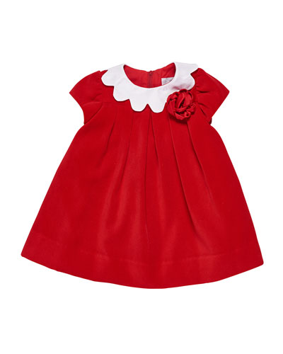 Twill Velvet Dress w/ Scalloped Collar, Size 3-24 Months