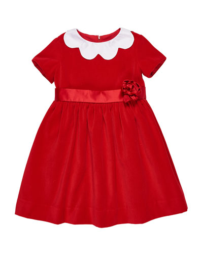 Twill Velvet Dress w/ Scalloped Collar, Size 2-6X