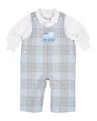 Plaid Train Overalls w/ Polo, Size 3-18 Months
