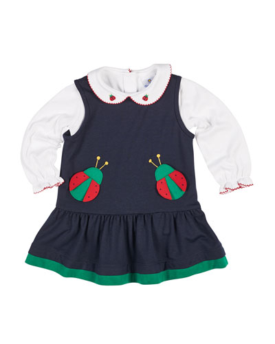 French Terry Ladybug Jumper w/ Blouse, Size 12-24 Months