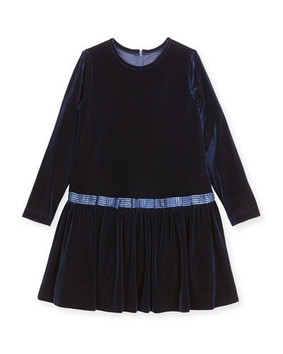 Stretch Velvet Dress w/ Bows, Size 2-6