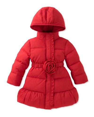 rosette puffer coat, size 7-14