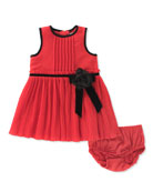 pleated chiffon dress w/ bloomers, size 12-24 months