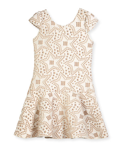 Cali Knit Jacquard Studded Flounce-Hem Dress, Size 4-6X