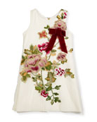 Winter Rose-Embroidered A-Line Dress, Size 7-16