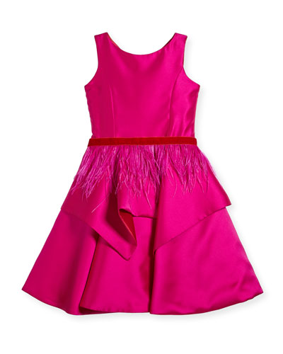 Peplum Party Dress w/ Feather Belt, Size 7-16
