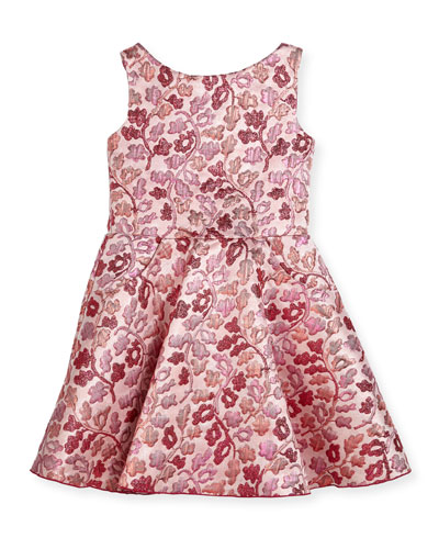Berry Blossom Metallic Brocade Swing Dress, Size 7-16
