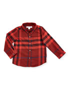 Fred Mini Long-Sleeve Check Shirt, Red, Size 6M-3Y