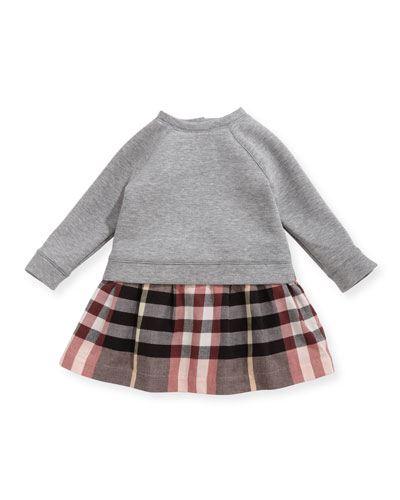 Francine Sweatshirt Check Dress, Size 6M-3Y