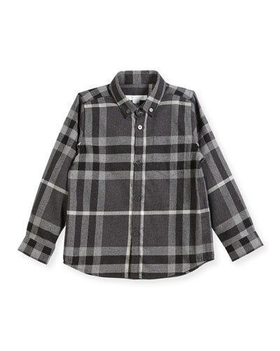 Fred Mini Long-Sleeve Check Shirt, Gray, Size 4-14