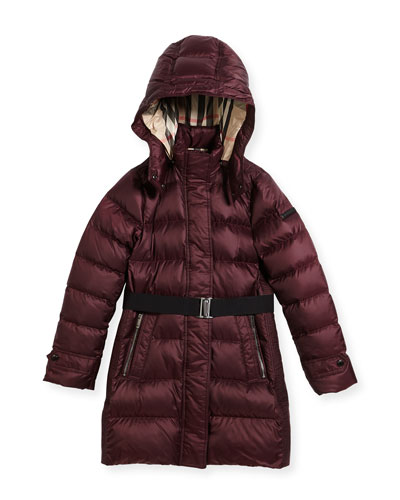 Dalesford Quilted Puffer Jacket, Plum, Size 4-14