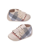 Boys' Tom Check Shoes w/ Perforated Leather Trim, Newborn-12 Months