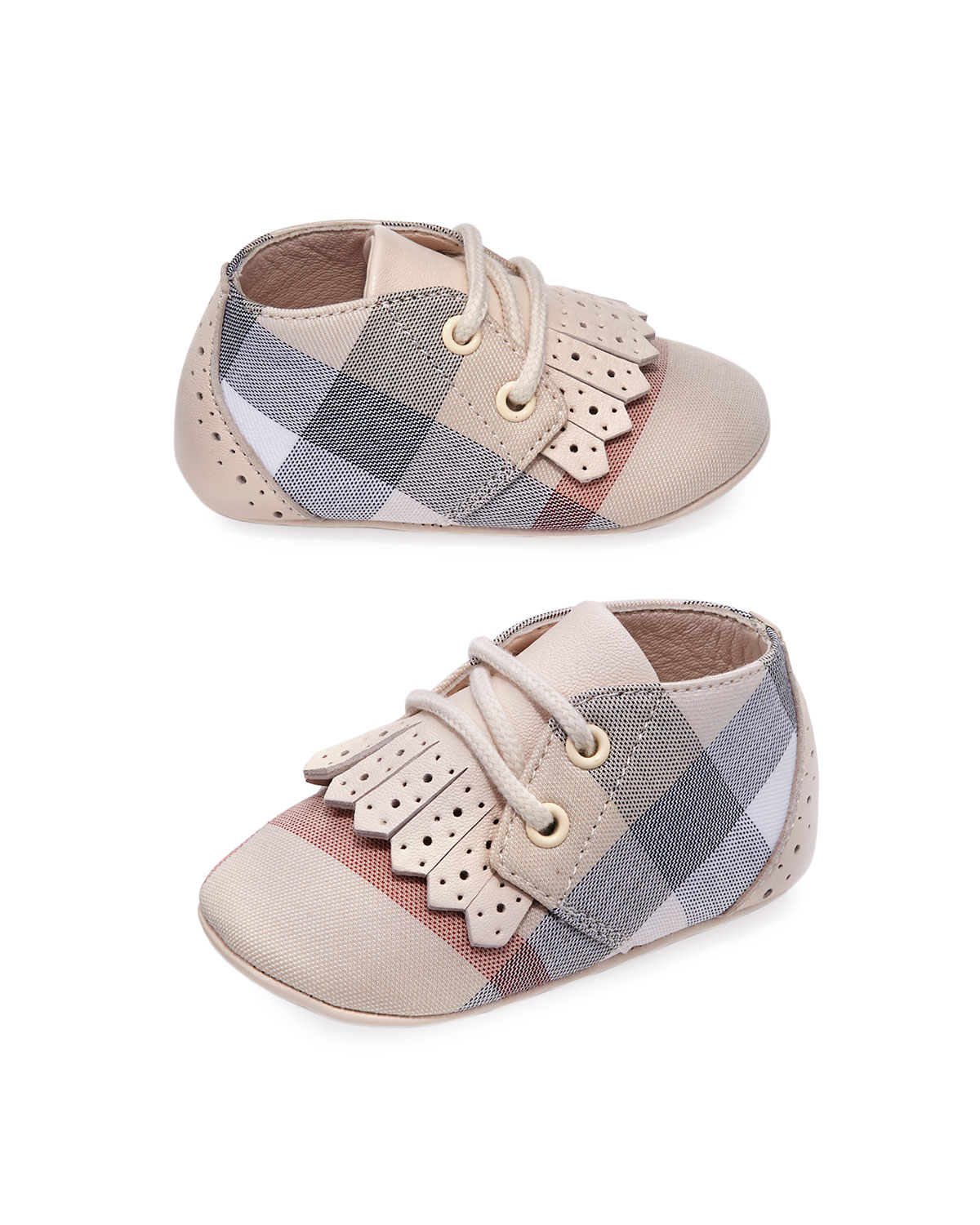 Boys Tom Check Shoes w Perforated Leather Trim Newborn12 Months