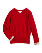 Georgey Cashmere Check-Cuff Pullover Sweater, Red, Size 4-14