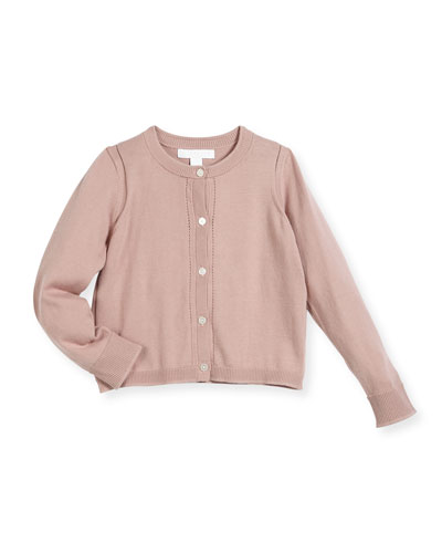 Rheta Cotton Button-Front Cardigan, Rose, Size 4-14