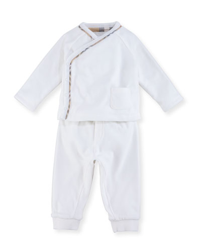 Remy Long Sleeve Check-Trim Top w/ Pants, Size 3-12 Months
