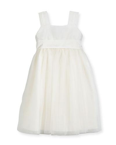 Venice Pleated Straps V-Back Dress, Ivory, Size 2-3