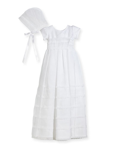 Delicate Organza Tiered Lace-Trim Christening Gown w/ Bonnet, White, Size ...