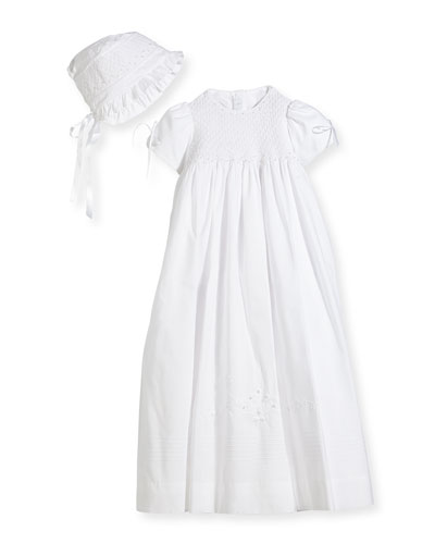 Pearls Smock Embroidered Cotton Christening Gown w Bonnet White Size 612 Months