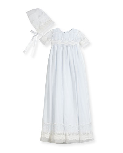 Blessing Embroidered Tulle Extra-Long Christening Gown w/ Bonnet, White, ...