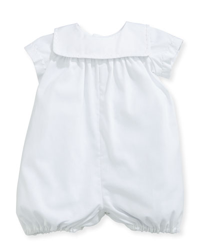 Charming Batiste Romper w/ Embroidered Collar, White, Size 3-24 Months