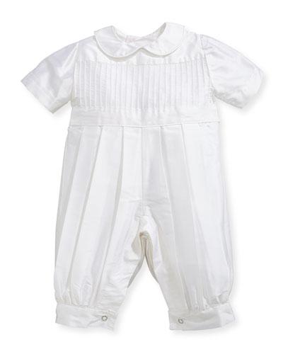 Boys Tucks Silk Christening Playsuit Size 324 Months