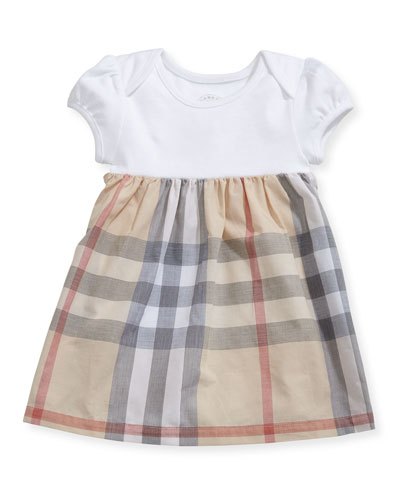 Cherrylina Cap-Sleeve Knit & Check Dress, Size 3-24 Months