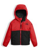 Sherparazo Taffeta & Fleece Hooded Jacket, Red, Size 2-4T