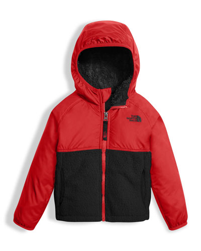 Sherparazo Taffeta & Fleece Hooded Jacket, Red, Size 2-4T