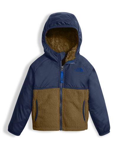Sherparazo Taffeta & Fleece Hooded Jacket, Blue, Size 2-4T