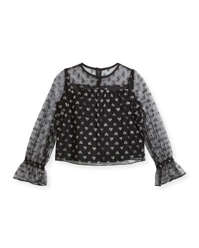Leila Metallic Hearts Tulle Blouse, Size 4-7