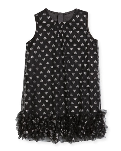 Tessa Embroidered Hearts Tulle Ruffle Trapeze Dress, Size 4-7