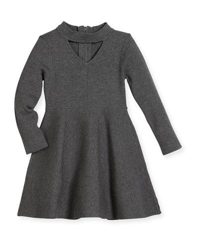 Cutout Long-Sleeve Flare Dress, Size 4-7