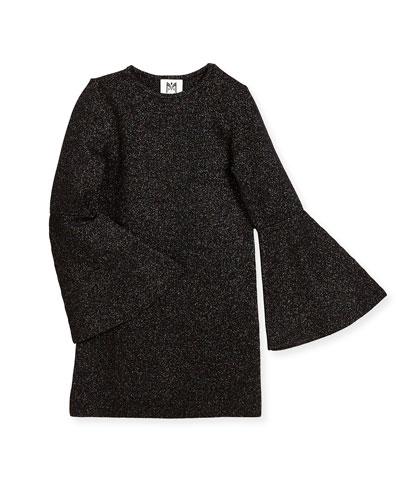 Bell-Sleeve Sparkle Shift Dress, Size 4-7