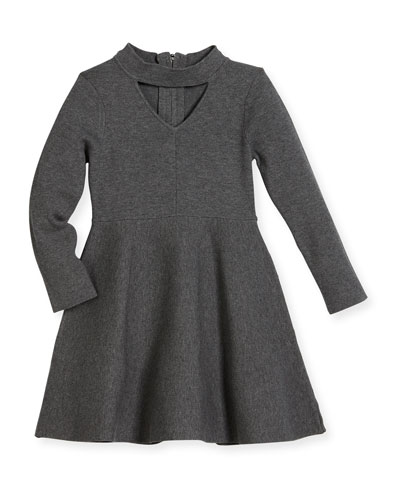 Cutout Long-Sleeve Flare Dress, Size 8-14